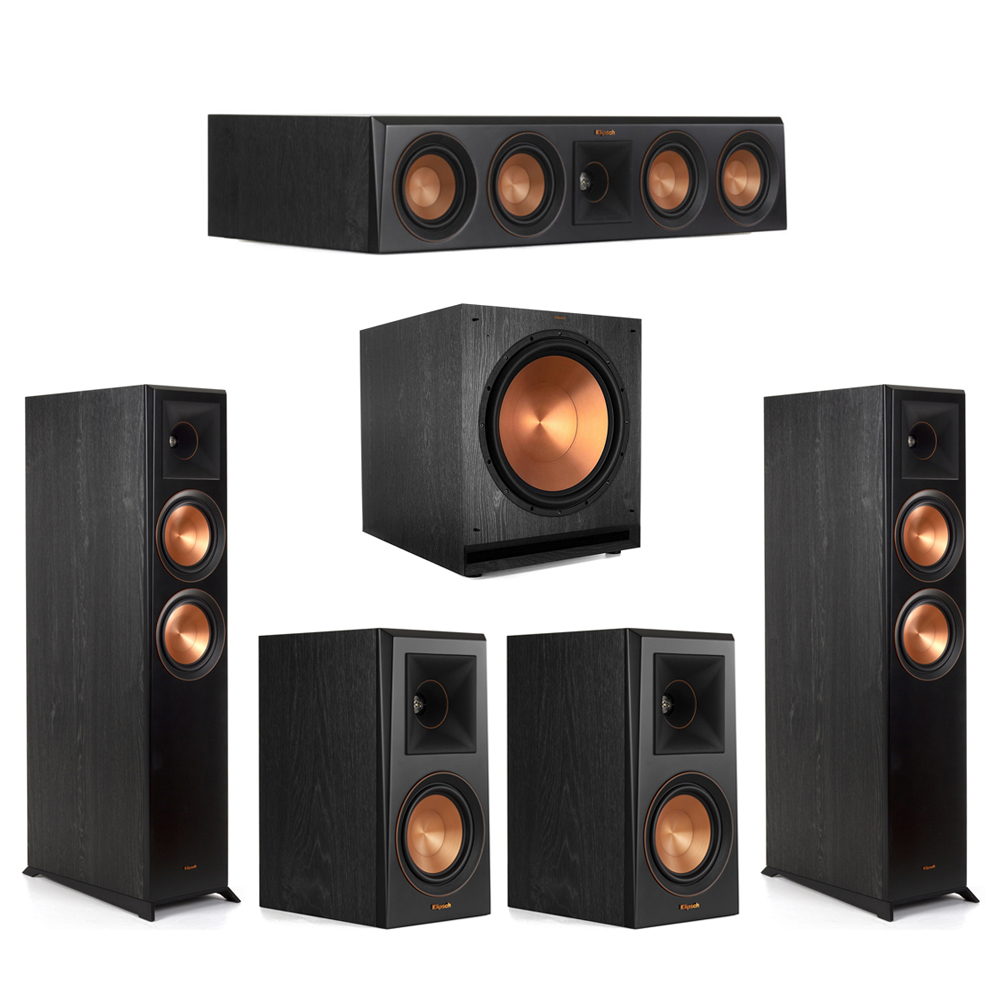 Klipsch-5.1 Ebony Home Theater System - 2 RP-6000F, 1 RP-404C, 2 RP-500M, 1 SPL-150 Subwoofer