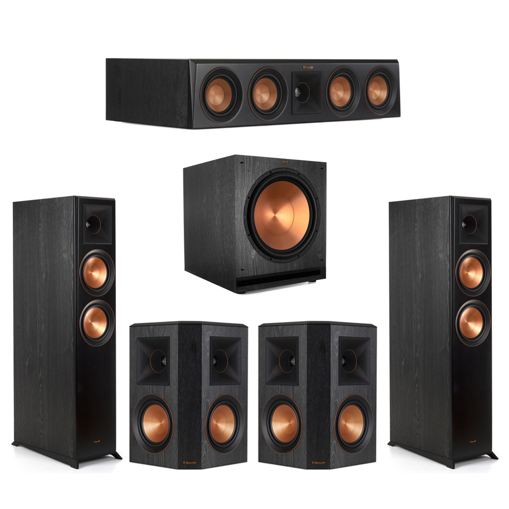 Klipsch-5.1 Ebony Home Theater System - 2 RP-6000F, 1 RP-404C, 2 RP-502S, 1 SPL-150 Subwoofer