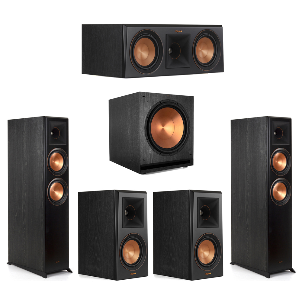 Klipsch-5.1 Ebony Home Theater System - 2 RP-6000F, 1 RP-500C, 2 RP-500M, 1 SPL-150 Subwoofer