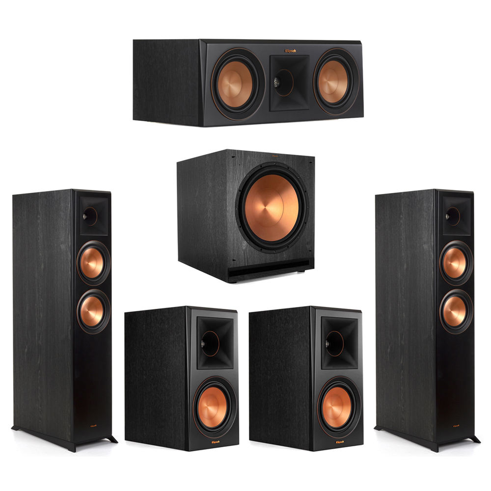Klipsch-5.1 Ebony Home Theater System - 2 RP-6000F, 1 RP-500C, 2 RP-600M, 1 SPL-150 Subwoofer