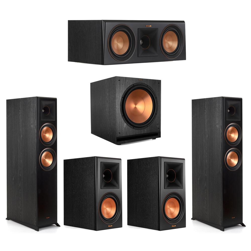 Klipsch-5.1 Ebony Home Theater System - 2 RP-6000F, 1 RP-500C, 2 RP-600M, 1 SPL-150 Subwoofer