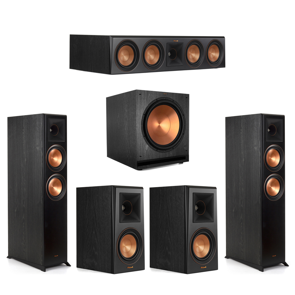 Klipsch-5.1 Ebony Home Theater System - 2 RP-6000F, 1 RP-504C, 2 RP-500M, 1 SPL-150 Subwoofer