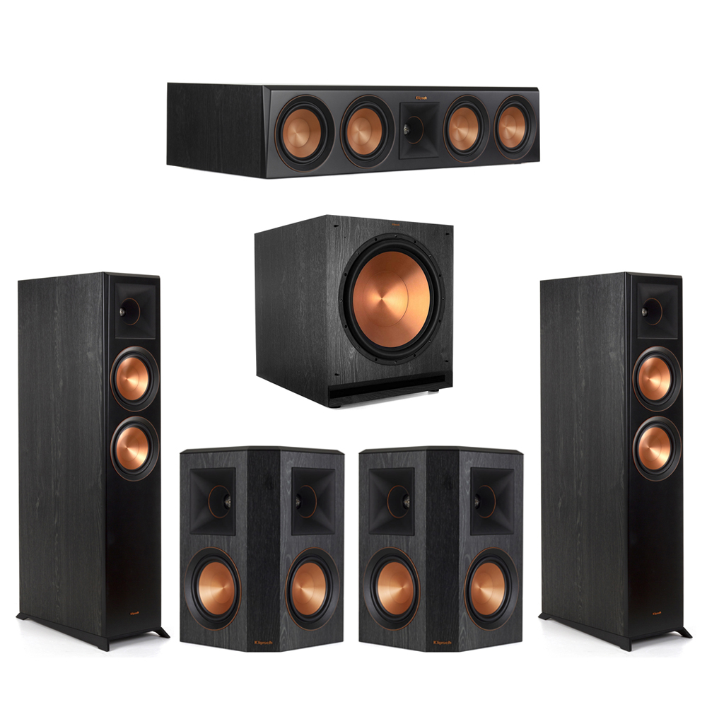 Klipsch-5.1 Ebony Home Theater System - 2 RP-6000F, 1 RP-504C, 2 RP-502S, 1 SPL-150 Subwoofer