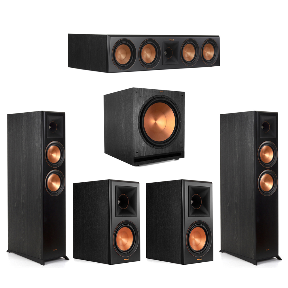 Klipsch-5.1 Ebony Home Theater System - 2 RP-6000F, 1 RP-504C, 2 RP-600M, 1 SPL-150 Subwoofer