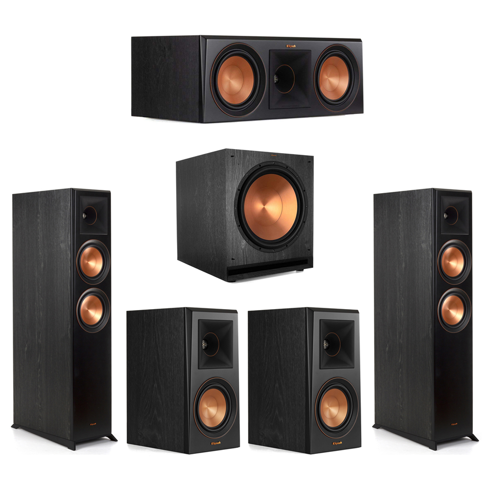 Klipsch-5.1 Ebony Home Theater System - 2 RP-6000F, 1 RP-600C, 2 RP-500M, 1 SPL-150 Subwoofer
