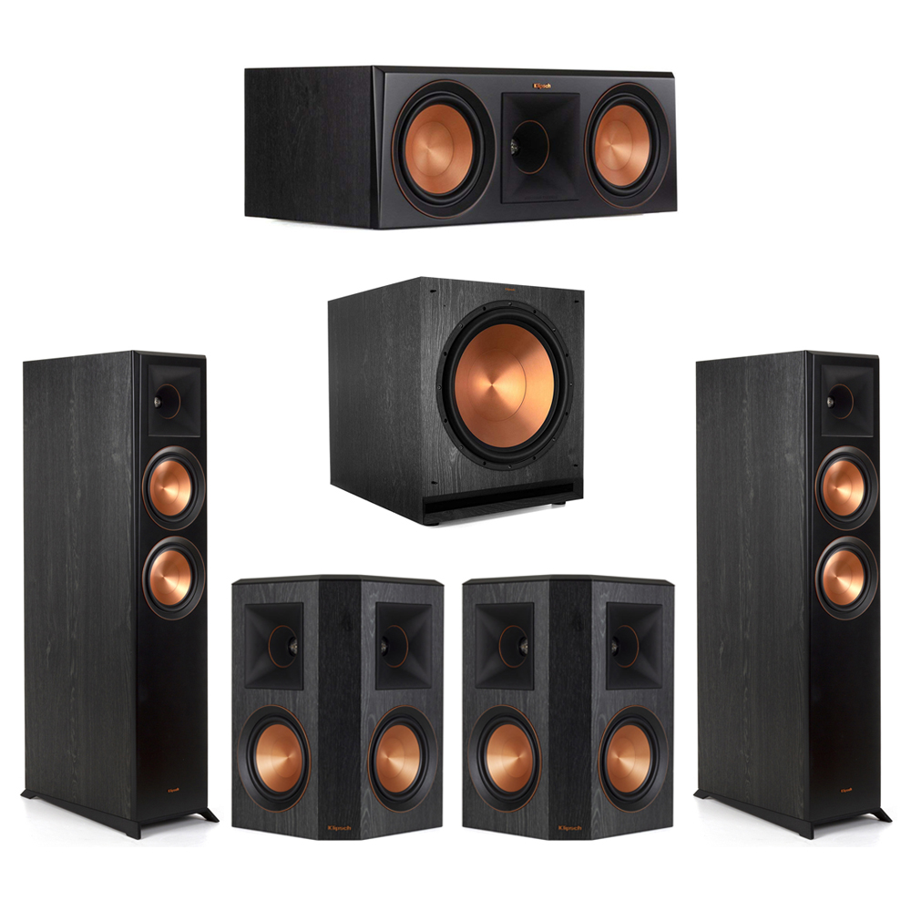 Klipsch-5.1 Ebony Home Theater System - 2 RP-6000F, 1 RP-600C, 2 RP-502S, 1 SPL-150 Subwoofer