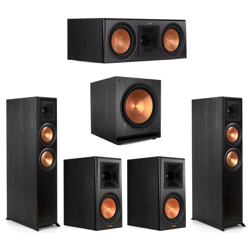 Klipsch-5.1 Ebony Home Theater System - 2 RP-6000F, 1 RP-600C, 2 RP-600M, 1 SPL-150 Subwoofer