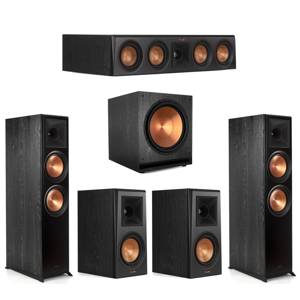 Klipsch-5.1 Ebony Home Theater System - 2 RP-8000F, 1 RP-404C, 2 RP-500M, 1 SPL-150 Subwoofer