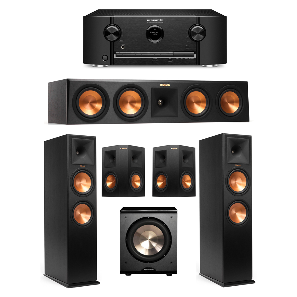Klipsch 5.1 Ebony System with 2 RP-280F Tower Speakers, 1 RP-450C Center Speaker, 2 Klipsch RP-250S Surround Speakers, 1 BIC/Acoustech Platinum Series PL-200 Subwoofer, 1 Marantz SR5012 Receiver