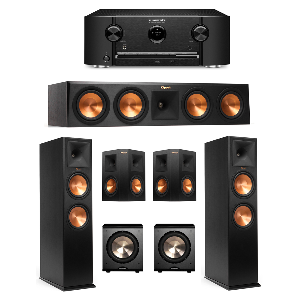 Klipsch 5.2 Ebony System with 2 RP-280F Tower Speakers, 1 RP-450C Center Speaker, 2 Klipsch RP-250S Surround Speakers, 2 BIC/Acoustech Platinum Series PL-200 Subwoofers, 1 Marantz SR5012 Receiver