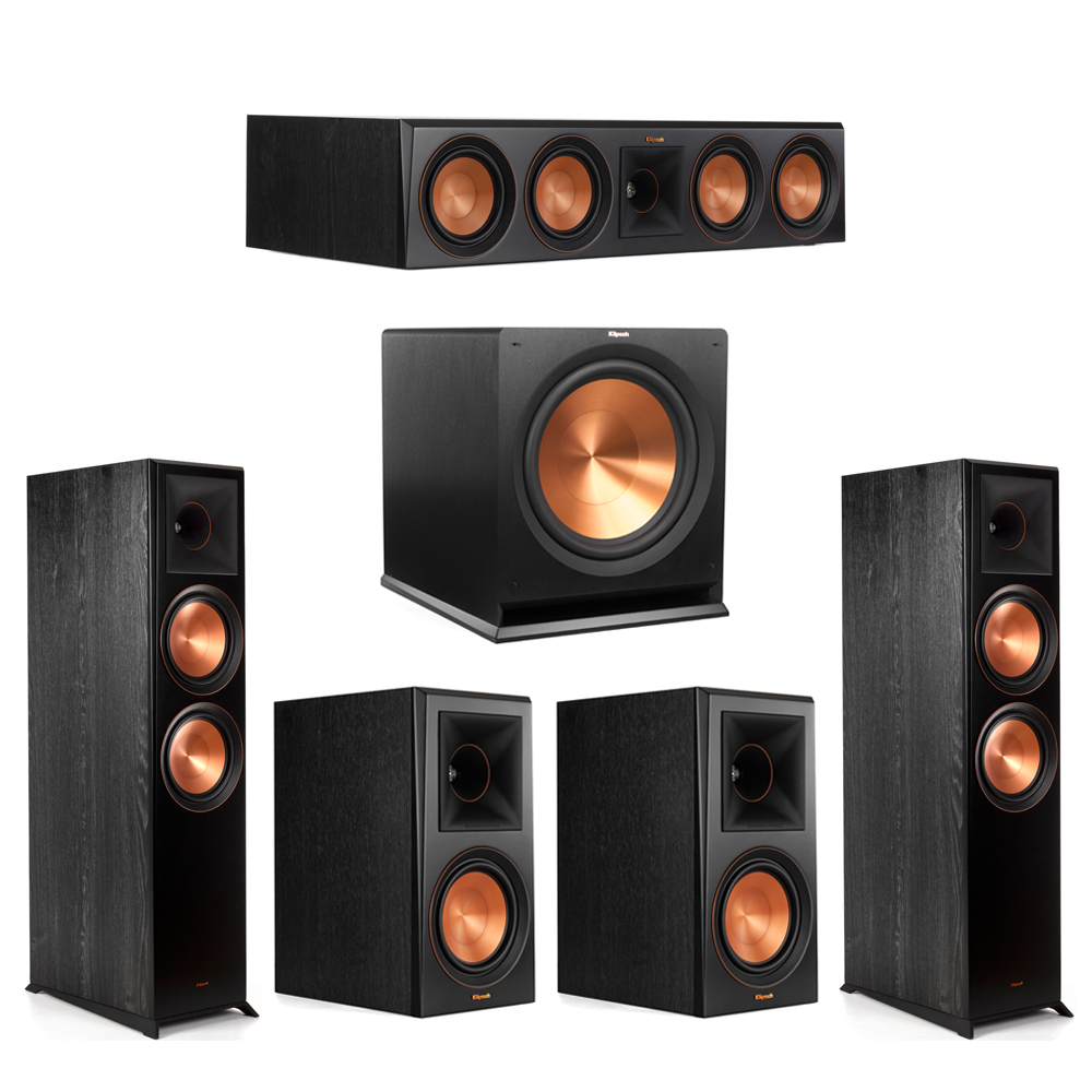 Klipsch 5.1 Piano Black System with-2 RP-8000F -1 RP-504C-2 RP-600M -1 R-115SW Subwoofer