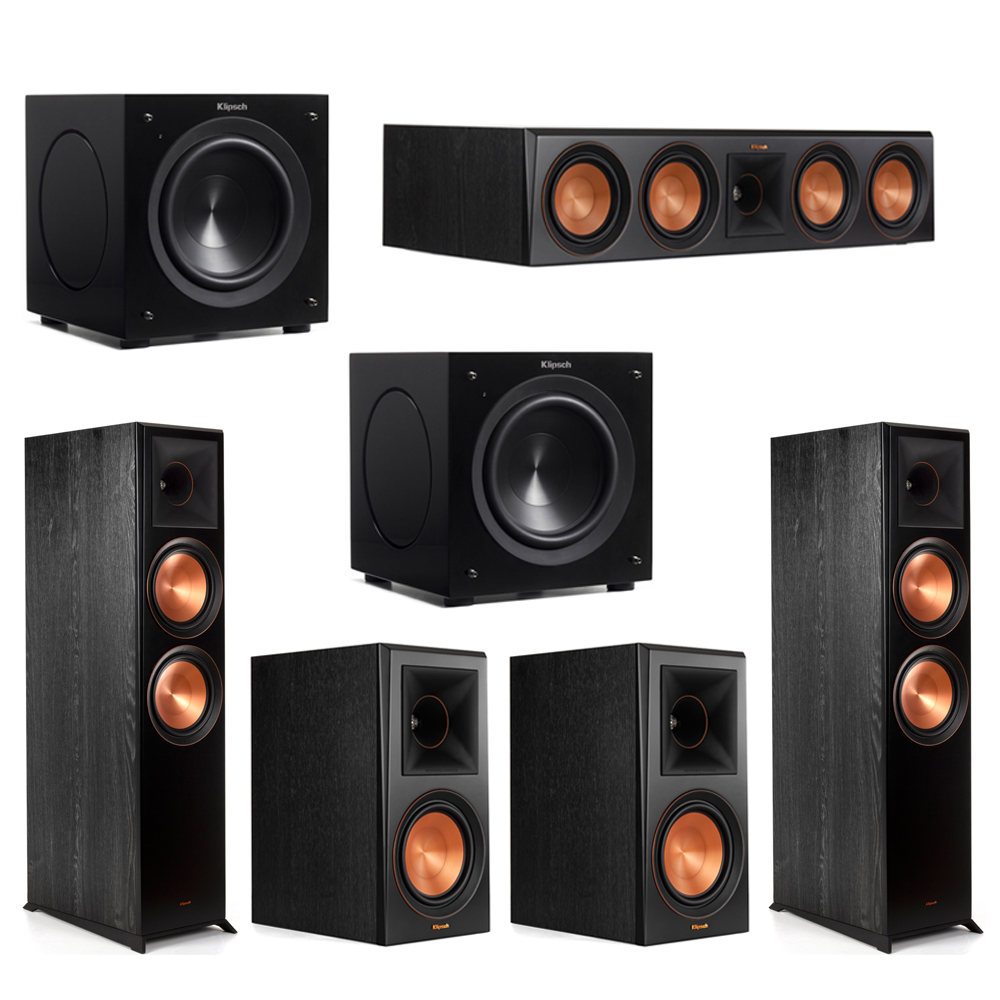 Klipsch 5.2 Piano Black System with-2 RP-8000F -1 RP-504C-2 RP-600M -2 C-308ASWi Subwoofers
