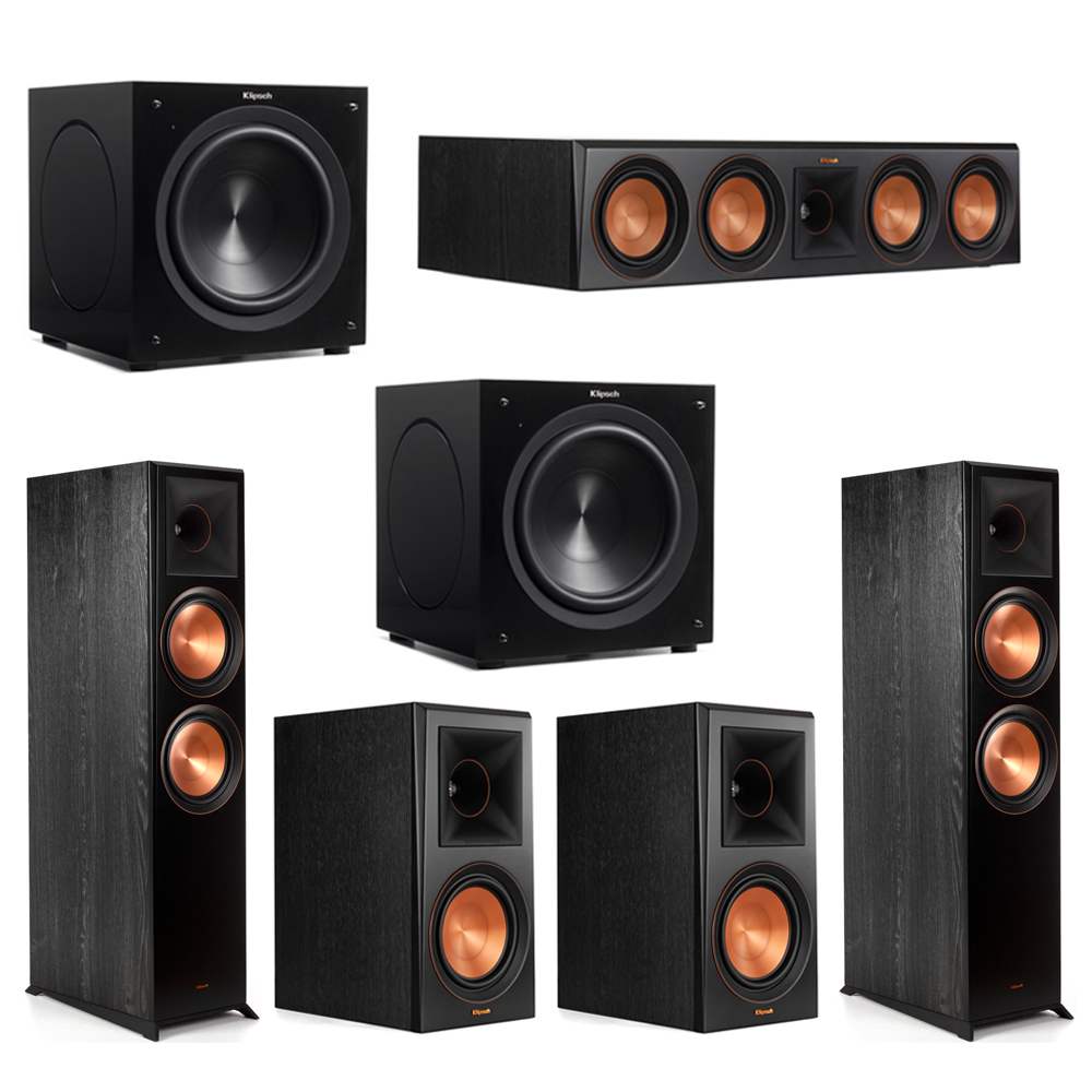Klipsch 5.2 Piano Black System with-2 RP-8000F -1 RP-504C-2 RP-600M -2 C-310ASWi Subwoofers