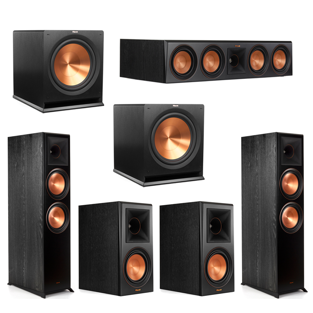 Klipsch 5.2 Piano Black System with-2 RP-8000F -1 RP-504C-2 RP-600M -2 R-115SW Subwoofers
