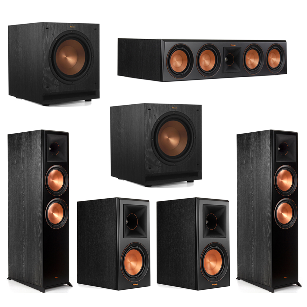 Klipsch 5.2 Piano Black System with-2 RP-8000F -1 RP-504C-2 RP-600M -2 SPL-100 Subwoofers