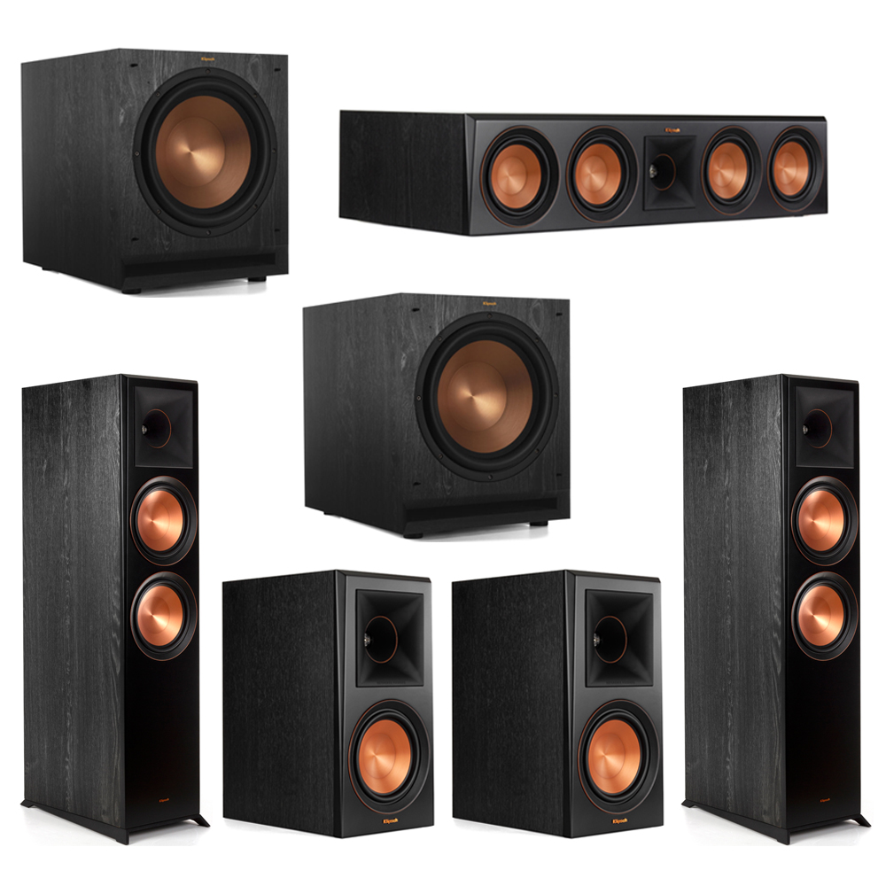 Klipsch 5.2 Piano Black System with-2 RP-8000F -1 RP-504C-2 RP-600M -2 SPL-120 Subwoofers