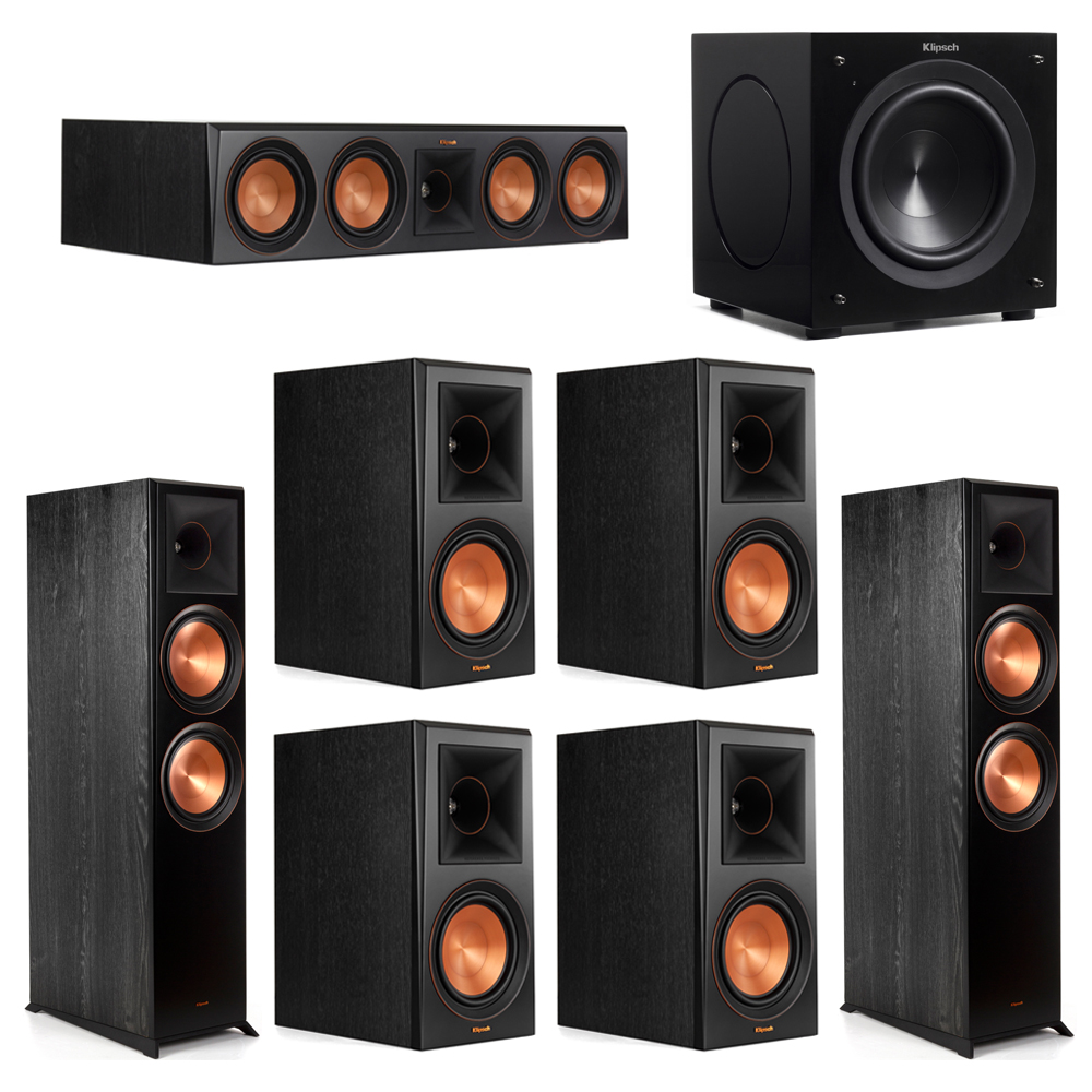 Klipsch 7.1 Piano Black System with-2 RP-8000F -1 RP-504C-4 RP-600M -1 C-308ASWi Subwoofer