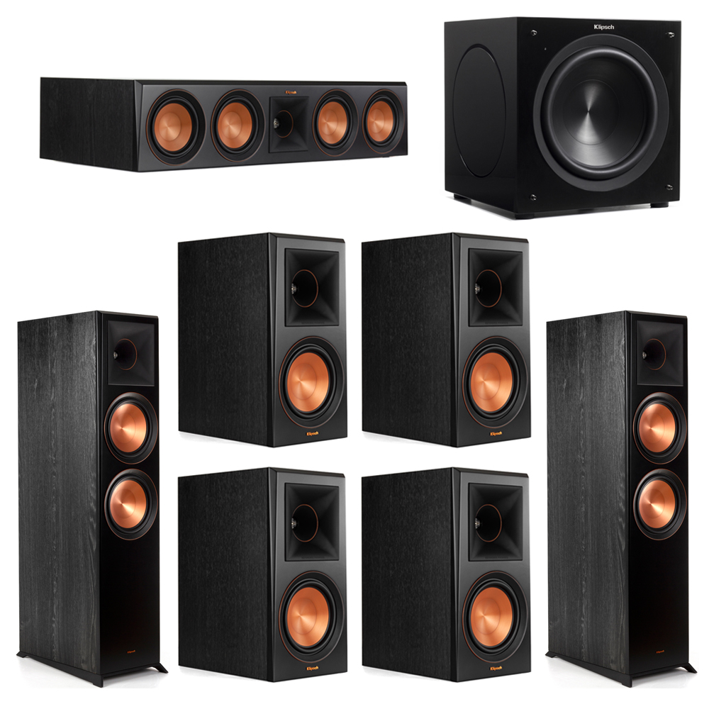 Klipsch 7.1 Piano Black System with-2 RP-8000F -1 RP-504C-4 RP-600M -1 C-310ASWi Subwoofer