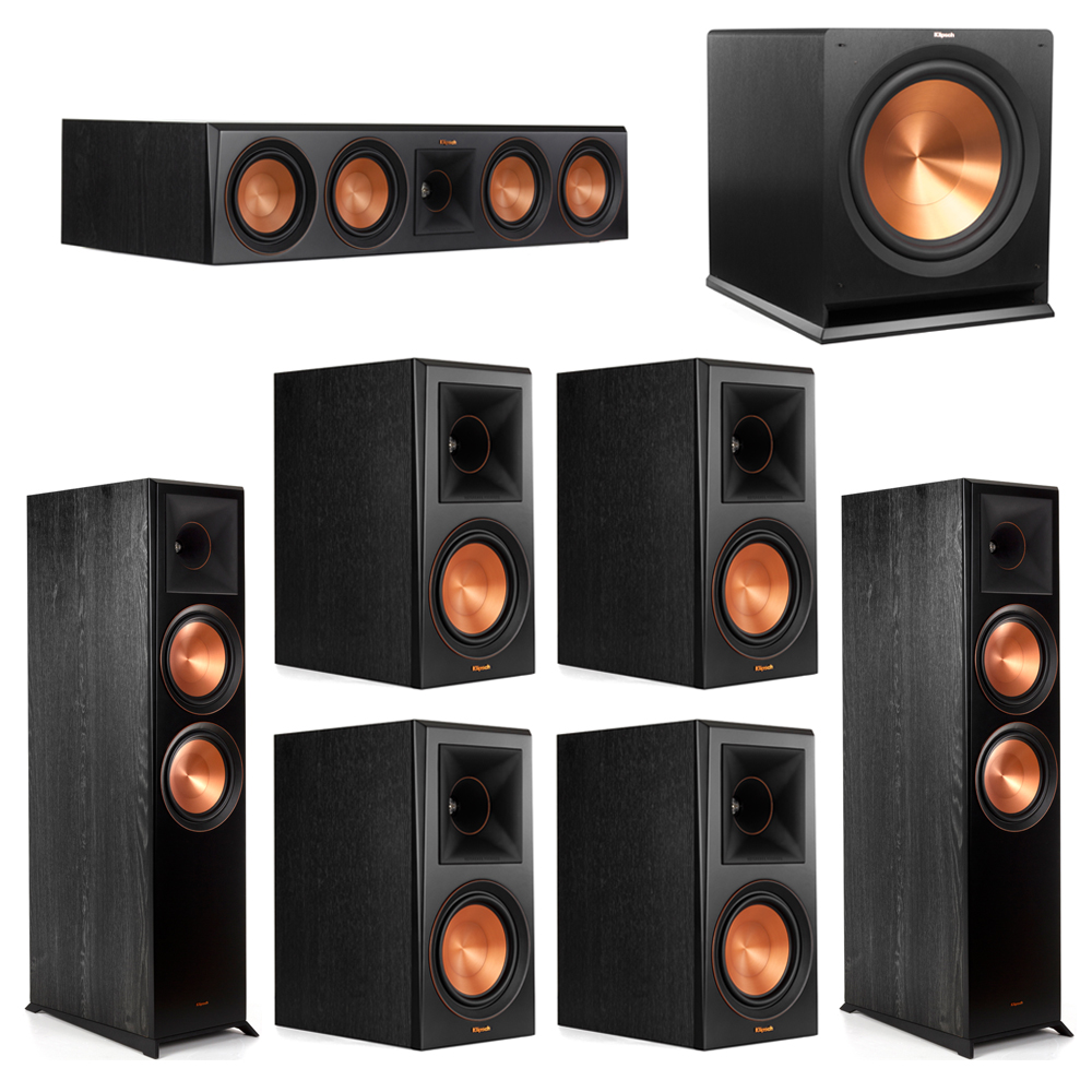 Klipsch 7.1 Piano Black System with-2 RP-8000F -1 RP-504C-4 RP-600M -1 R-115SW Subwoofer
