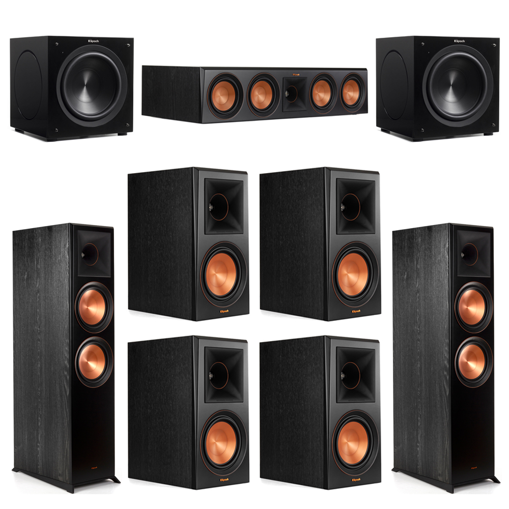 Klipsch 7.2 Piano Black System with-2 RP-8000F -1 RP-504C-4 RP-600M -2 C-310ASWi Subwoofers