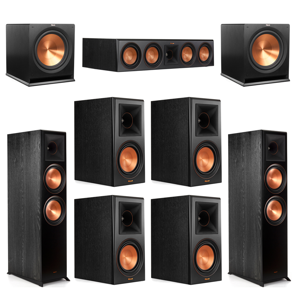Klipsch 7.2 Piano Black System with-2 RP-8000F -1 RP-504C-4 RP-600M -2 R-115SW Subwoofers