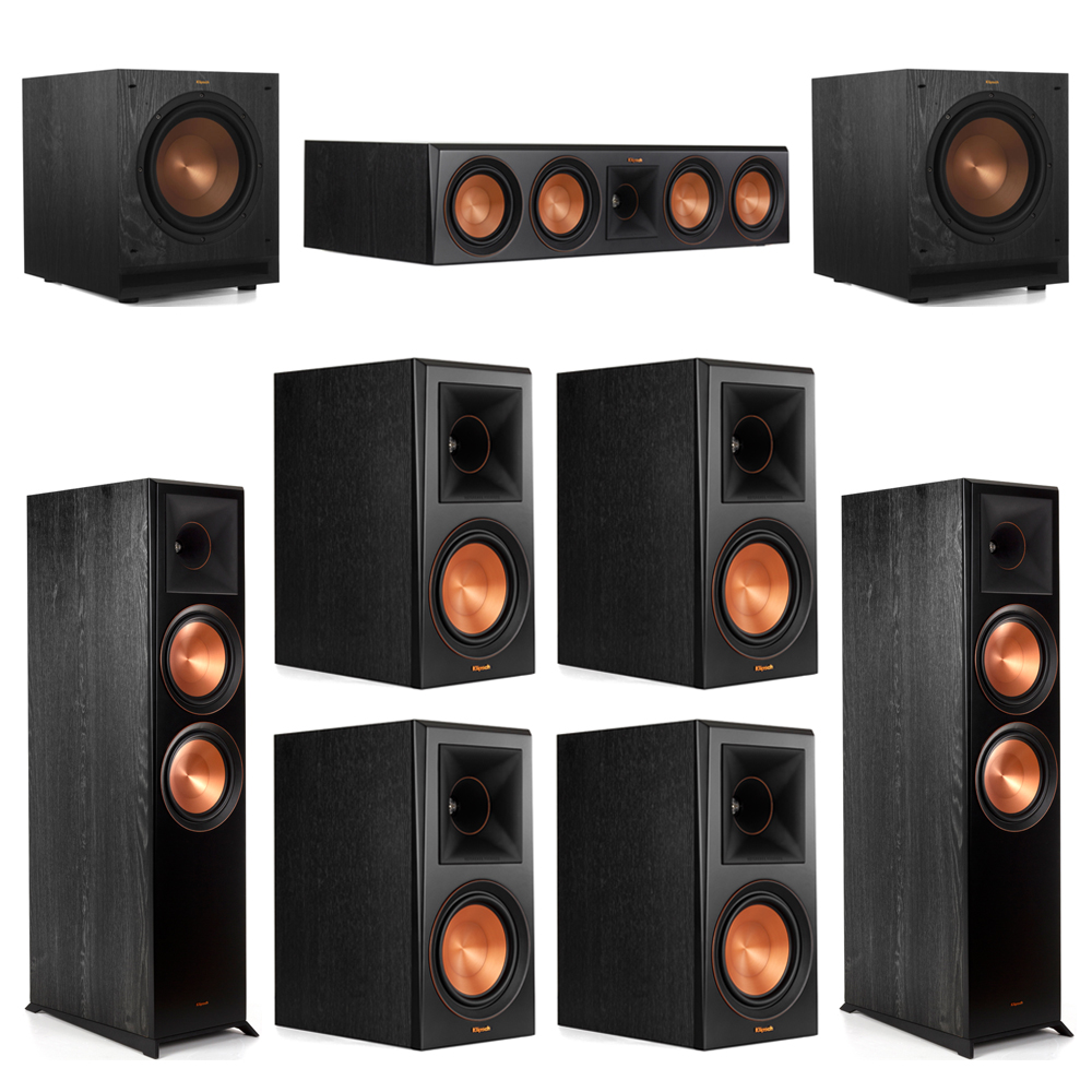 Klipsch 7.2 Piano Black System with-2 RP-8000F -1 RP-504C-4 RP-600M -2 SPL-100 Subwoofers