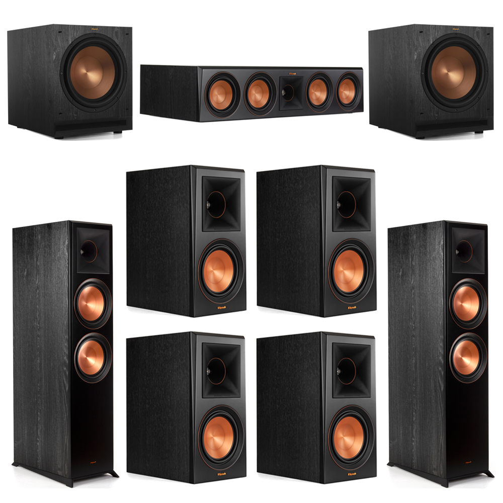 Klipsch 7.2 Piano Black System with-2 RP-8000F -1 RP-504C-4 RP-600M -2 SPL-120 Subwoofers