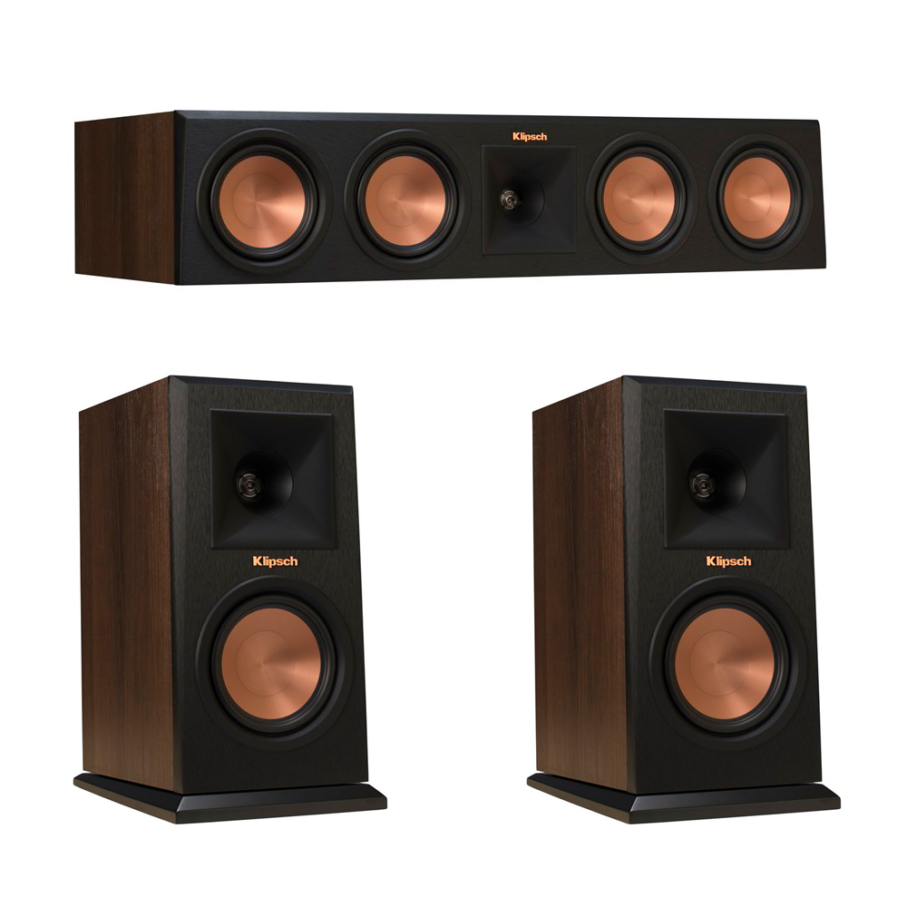 Klipsch 3.0 Walnut System with 2 RP-150M Monitor Speakers, 1 RP-450C Center Speaker