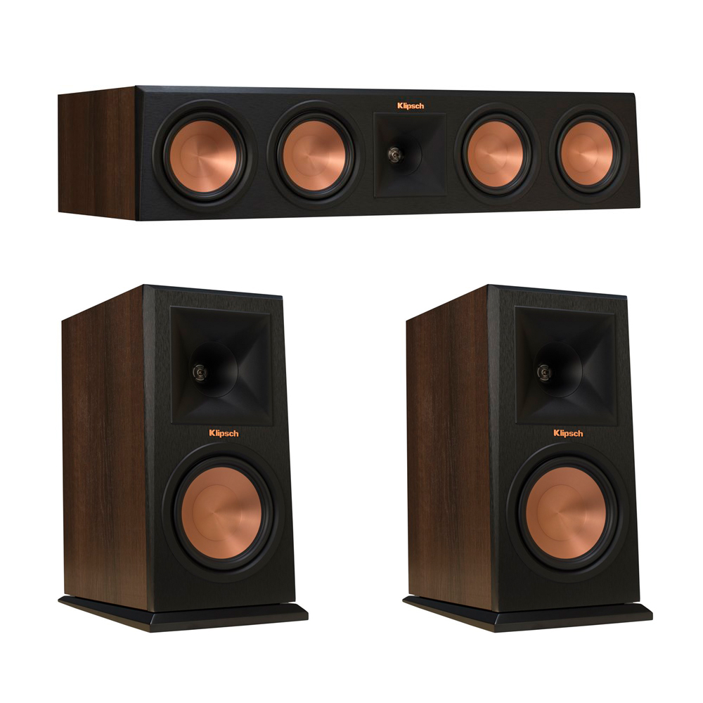 Klipsch 3.0 Walnut System with 2 RP-160M Monitor Speakers, 1 RP-450C Center Speaker