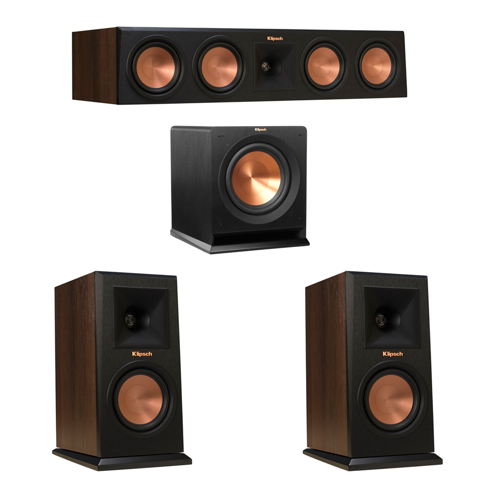 Klipsch 3.1 Walnut System with 2 RP-150M Monitor Speakers, 1 RP-450C Center Speaker, 1 Klipsch R-110SW Subwoofer