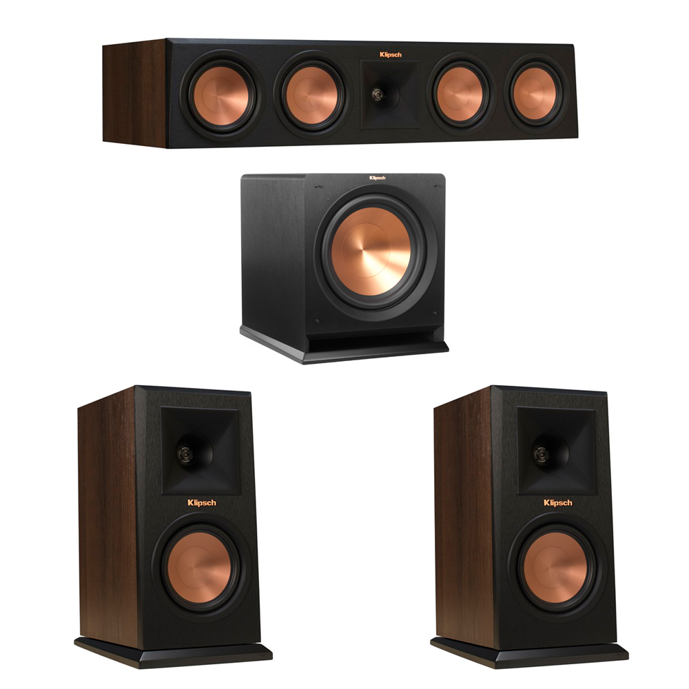 Klipsch 3.1 Walnut System with 2 RP-150M Monitor Speakers, 1 RP-450C Center Speaker, 1 Klipsch R-112SW Subwoofer