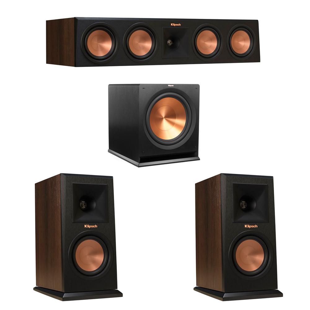 Klipsch 3.1 Walnut System with 2 RP-150M Monitor Speakers, 1 RP-450C Center Speaker, 1 Klipsch R-115SW Subwoofer