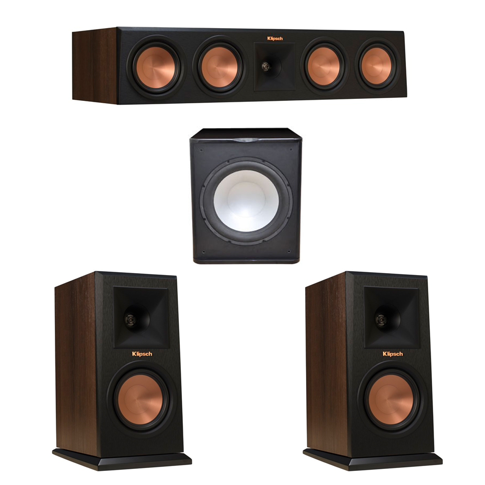 Klipsch 3.1 Walnut System with 2 RP-150M Monitor Speakers, 1 RP-450C Center Speaker, 1 Premier Acoustic PA-150 Subwoofer