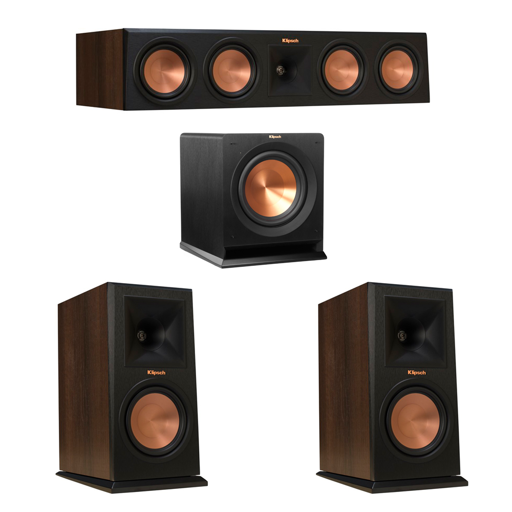 Klipsch 3.1 Walnut System with 2 RP-160M Monitor Speakers, 1 RP-450C Center Speaker, 1 Klipsch R-110SW Subwoofer