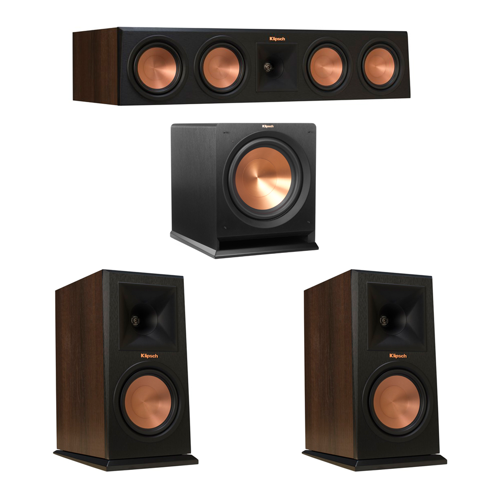 Klipsch 3.1 Walnut System with 2 RP-160M Monitor Speakers, 1 RP-450C Center Speaker, 1 Klipsch R-112SW Subwoofer