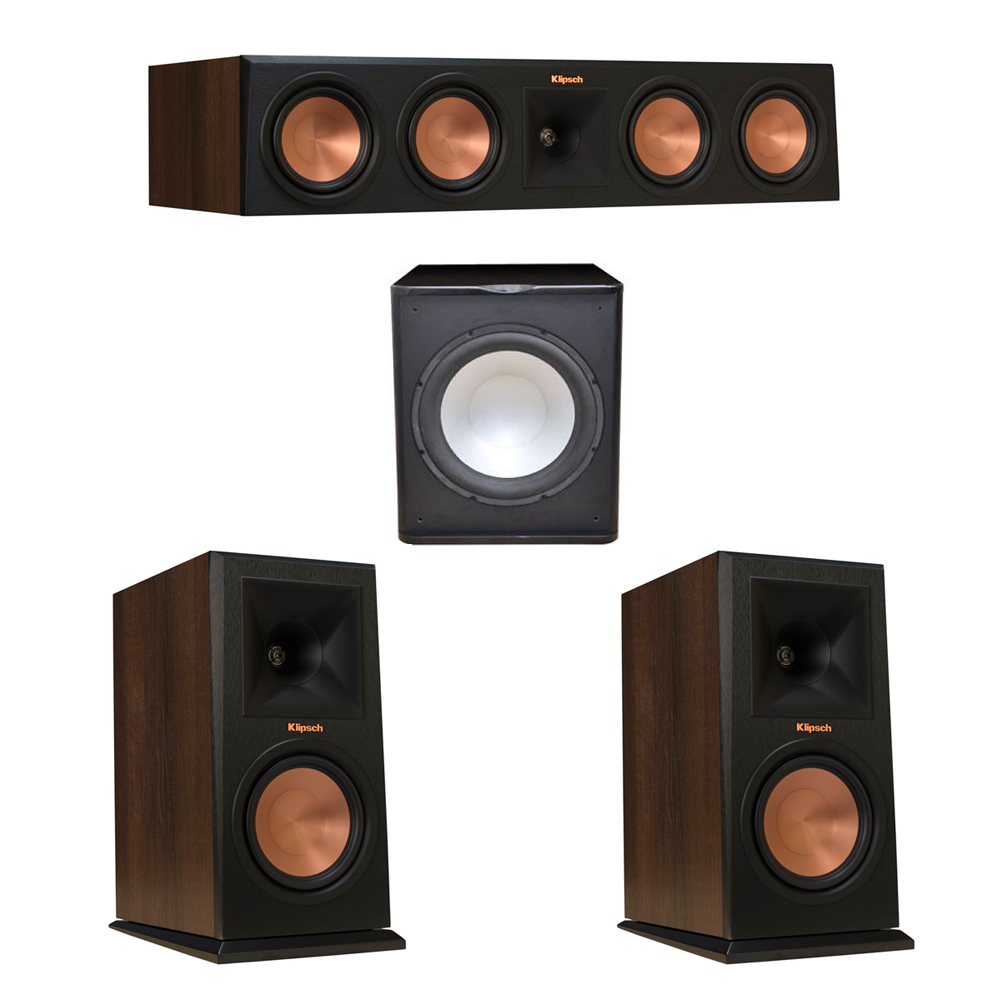 Klipsch 3.1 Walnut System with 2 RP-160M Monitor Speakers, 1 RP-450C Center Speaker, 1 Premier Acoustic PA-150 Subwoofer