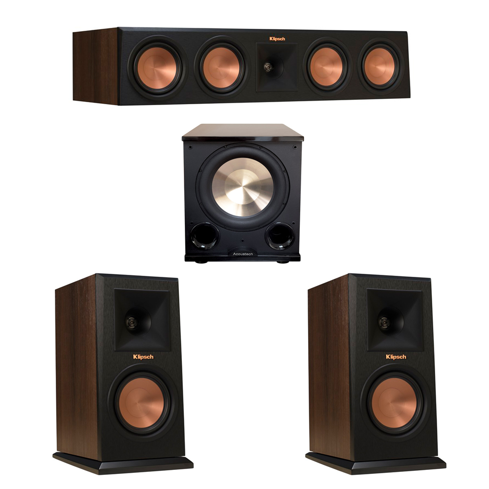 Klipsch 3.1 Walnut System with 2 RP-160M Monitor Speakers, 1 RP-450C Center Speaker, 1 BIC/Acoustech Platinum Series PL-200 II Subwoofer
