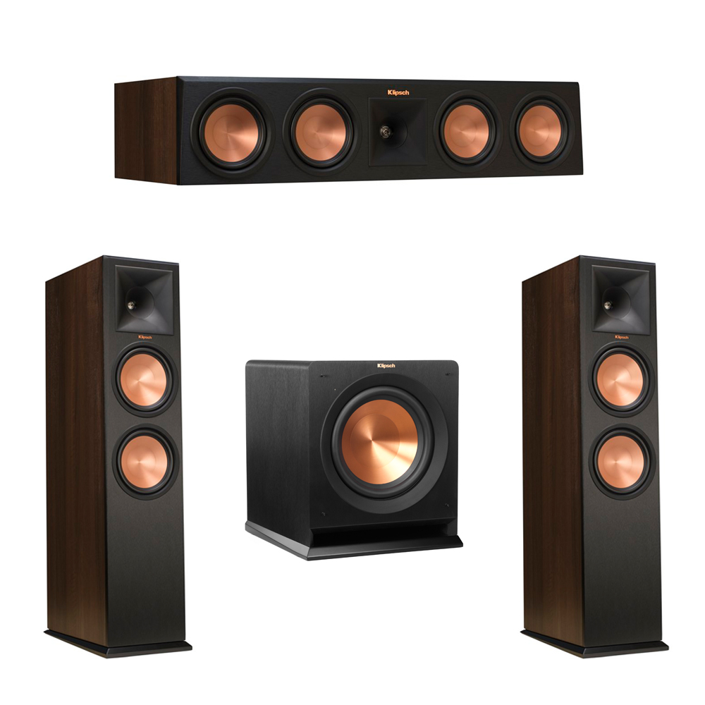 Klipsch 3.1 Walnut System with 2 RP-280F Tower Speakers, 1 RP-450C Center Speaker, 1 Klipsch R-110SW Subwoofer