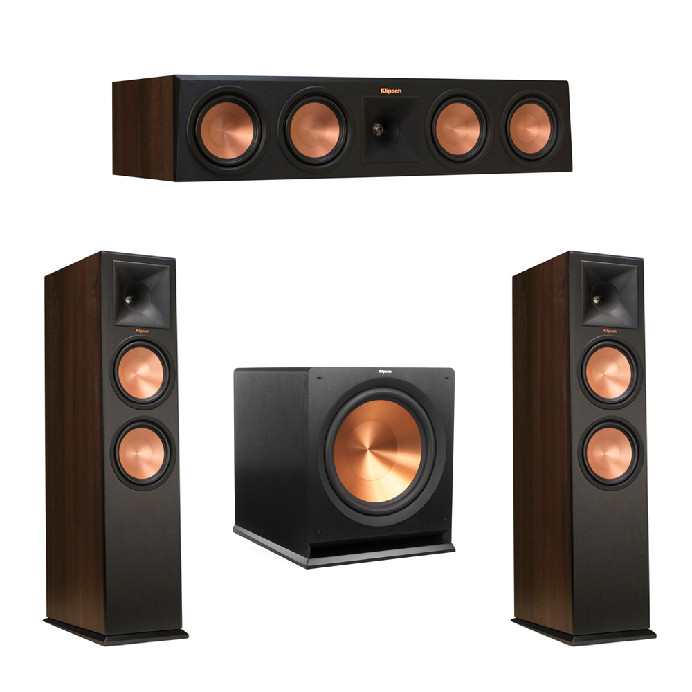 Klipsch 3.1 Walnut System with 2 RP-280F Tower Speakers, 1 RP-450C Center Speaker, 1 Klipsch R-115SW Subwoofer