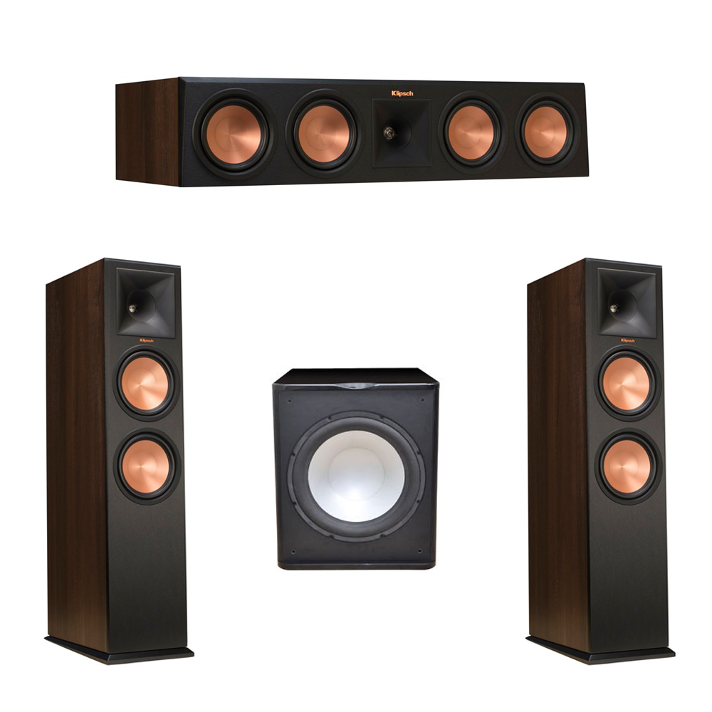 Klipsch 3.1 Walnut System with 2 RP-280F Tower Speakers, 1 RP-450C Center Speaker, 1 Premier Acoustic PA-150 Subwoofer