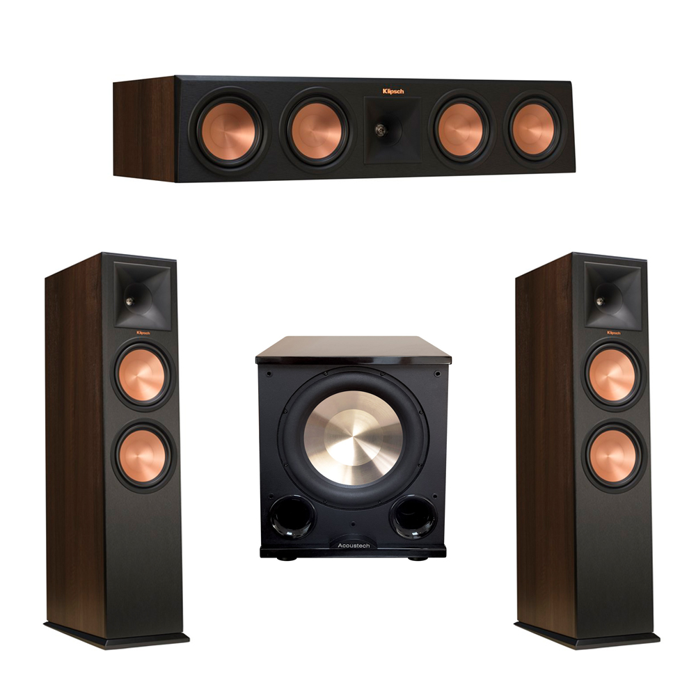 Klipsch 3.1 Walnut System with 2 RP-280F Tower Speakers, 1 RP-450C Center Speaker, 1 BIC/Acoustech Platinum Series PL-200 II Subwoofer