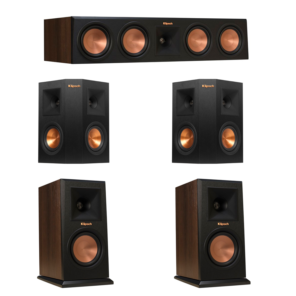Klipsch 5.0 Walnut System with 2 RP-150M Monitor Speakers, 1 RP-450C Center Speaker, 2 Klipsch RP-240S Ebony Surround Speakers