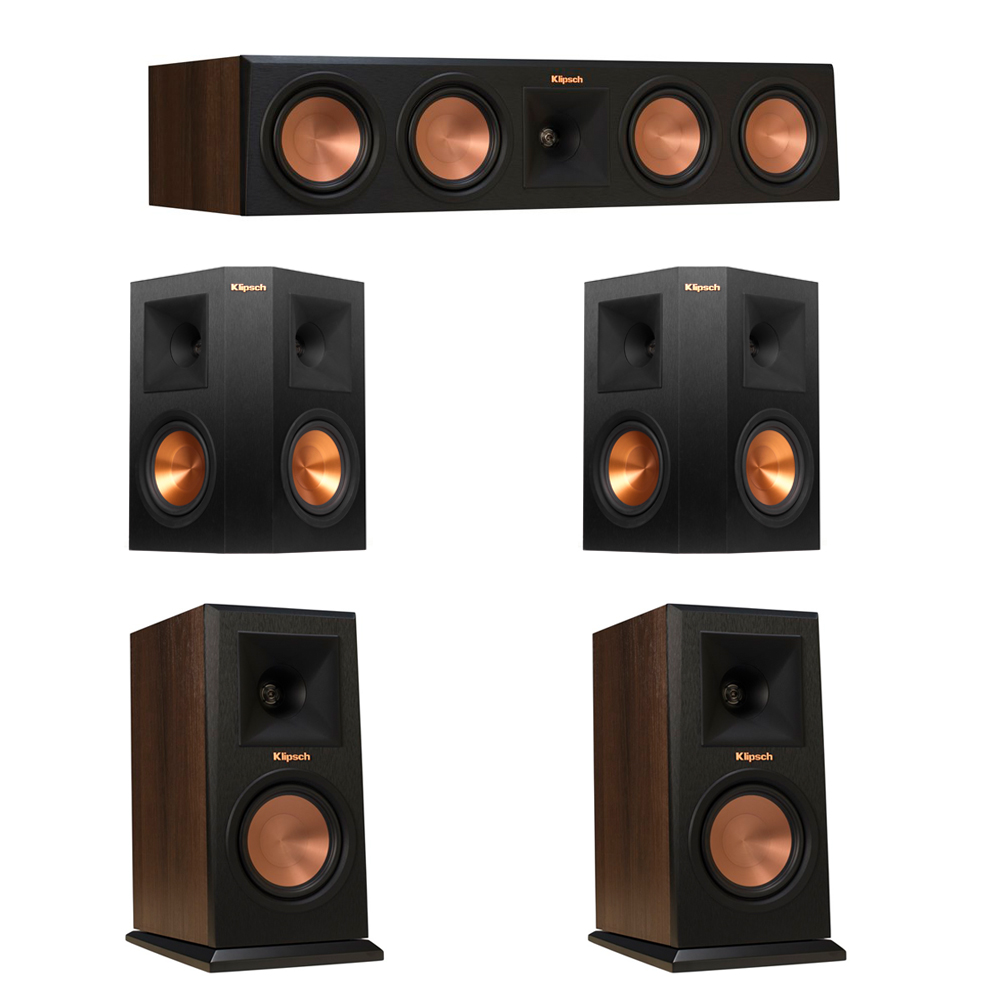 Klipsch 5.0 Walnut System with 2 RP-150M Monitor Speakers, 1 RP-450C Center Speaker, 2 Klipsch RP-250S Ebony Surround Speakers