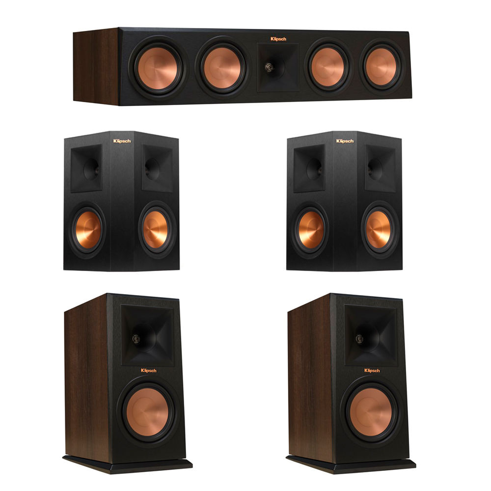 Klipsch 5.0 Walnut System with 2 RP-160M Monitor Speakers, 1 RP-450C Center Speaker, 2 Klipsch RP-250S Ebony Surround Speakers