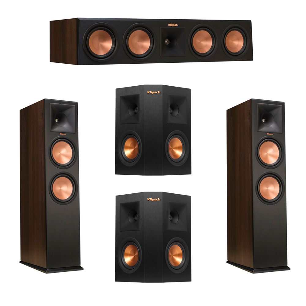 Klipsch 5.0 Walnut System with 2 RP-280F Tower Speakers, 1 RP-450C Center Speaker, 2 Klipsch RP-240S Ebony Surround Speakers