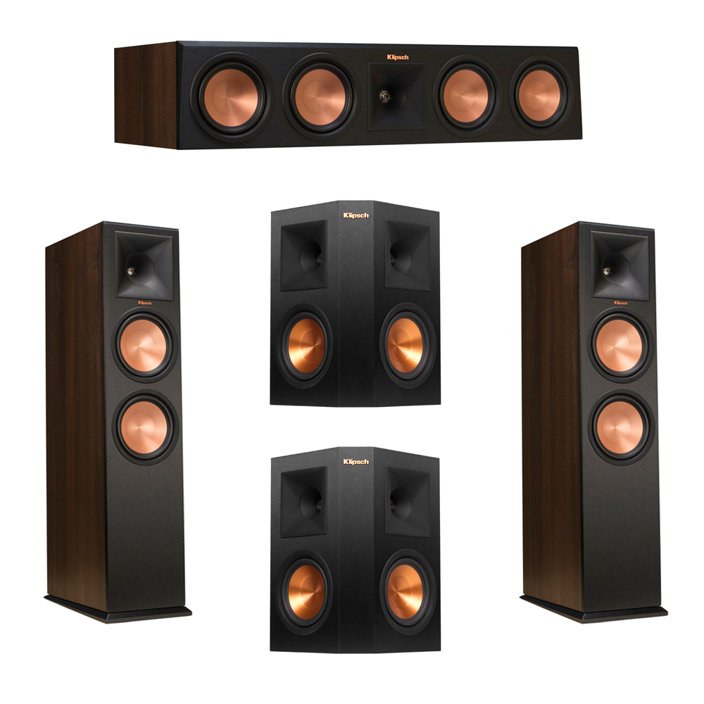 Klipsch 5.0 Walnut System with 2 RP-280F Tower Speakers, 1 RP-450C Center Speaker, 2 Klipsch RP-250S Ebony Surround Speakers