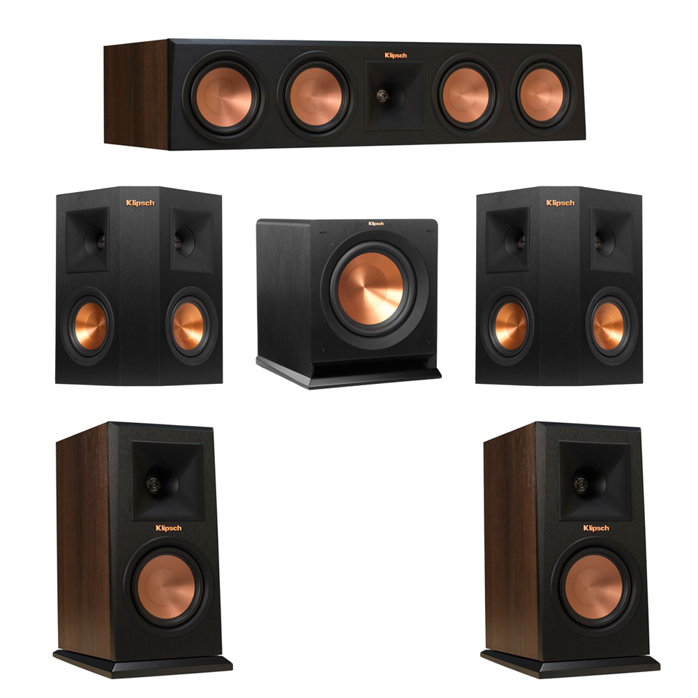 Klipsch 5.1 Walnut System with 2 RP-150M Monitor Speakers, 1 RP-450C Center Speaker, 2 Klipsch RP-240S Ebony Surround Speakers, 1 Klipsch R-110SW Subwoofer