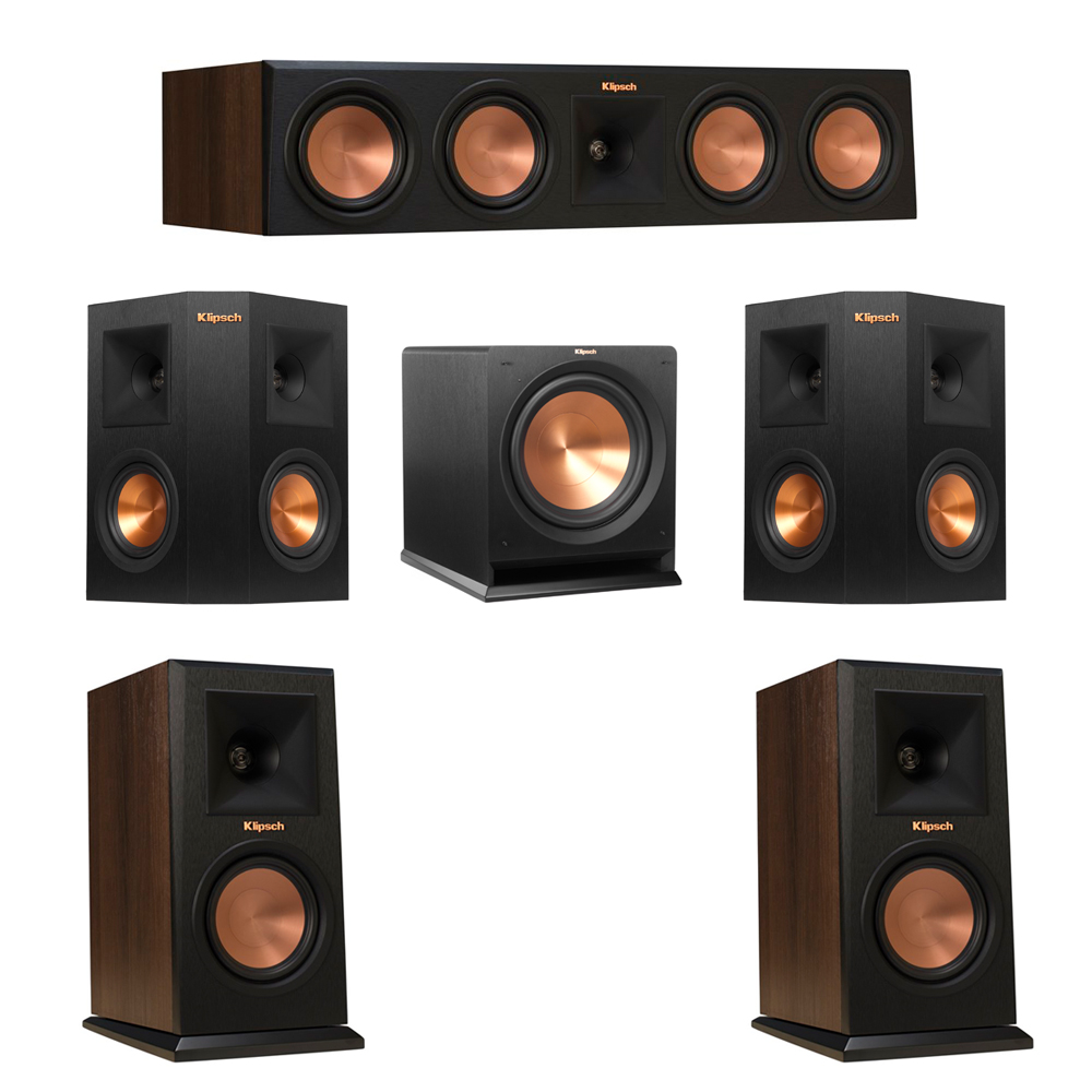 Klipsch 5.1 Walnut System with 2 RP-150M Monitor Speakers, 1 RP-450C Center Speaker, 2 Klipsch RP-240S Ebony Surround Speakers, 1 Klipsch R-112SW Subwoofer