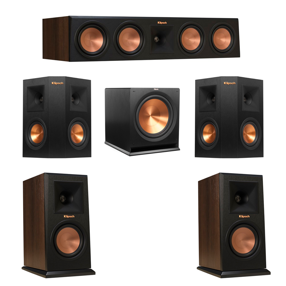 Klipsch 5.1 Walnut System with 2 RP-150M Monitor Speakers, 1 RP-450C Center Speaker, 2 Klipsch RP-240S Ebony Surround Speakers, 1 Klipsch R-115SW Subwoofer