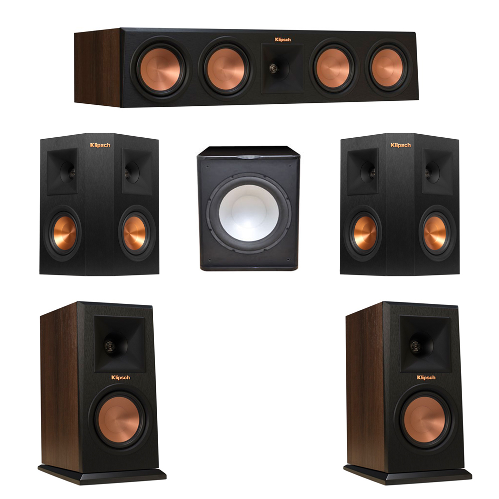 Klipsch 5.1 Walnut System with 2 RP-150M Monitor Speakers, 1 RP-450C Center Speaker, 2 Klipsch RP-240S Ebony Surround Speakers, 1 Premier Acoustic PA-150 Subwoofer